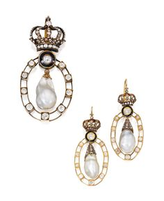 Gold, Silver, Natural Pearl, Diamond and Enamel Earrings and Pendant - circa 1890-1900.