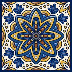 Blue & Gold Star Turkish Art Tile