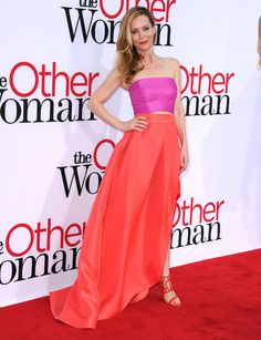 Leslie Mann in Monique Lhuillier and Oscar Tiye heels at the LA premiere of The Other Woman.