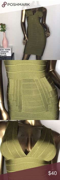 HOT MIAMI STYLES OLIVE GREEN BANDAGE DRESS XS Gorgeous dress that gives you a figure and hugs you in all the right places Dresses