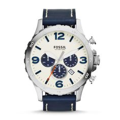 #Fossil NATE Chronograph Leather Watch - Navy