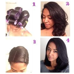 Hair straightening with no heat... Use the big rollers to stretch your natural hair and add body and dry under hooded dryer. Take them out when dry and you can brush them out and stop there or wrap and cover with Saran Wrap and dry under dryer for 10 mins