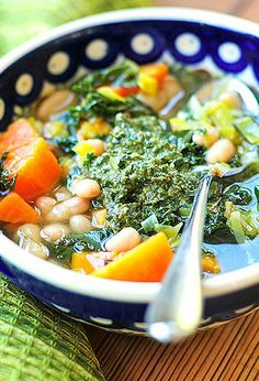 Sweet Potato Soup with Walnut Pesto | Shewearsmanyhats.com