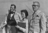 Angela with John Wayne and John Huston - 'The Barbarian and the Geisha'