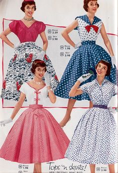 Fashion/ Style as seen in the Aldens 1955 Catalog for these fun Spring & Summer Dresses, Skirts & Tops for Women. 1950s Fashion Women, Vintage Fashion 1950s, Fifties Fashion, Vintage 1950s Dresses, Retro Fashion, Vintage Ladies, Vintage Style, Club Fashion, Vintage Clothing