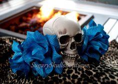 Dia de los Muertos Headpiece, Book of Life Inspired, Headband, Sugar Skull Turquoise Flowers, Halloween Prop, Costume Day the Dead Wedding