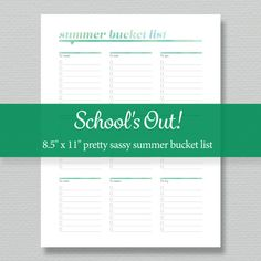 Summer Bucket List Printable - Editable PDF - Digital Download - Standard Letter Size Summer Boredom, Check Box, Summer Bucket Lists, Printed Pages, Filofax, As You Like, Meant To Be, Activities, Learning