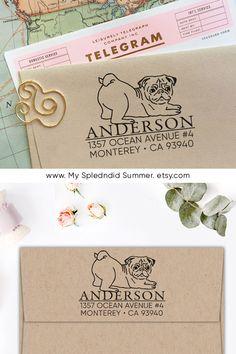 design by MySplendidSummer - Custom Address Stamp - Cute Pug Return Address Stamp, Holiday Gift, Stocking Stuffer, Wedding Gift, Self Inking Rubber Stamp, Gift for Her