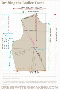 Drafting the Bodice Block (Sloper) – Sewing made easy – pattern Pattern Drafting Tutorials, Sewing Tutorials, Sewing Tips, Dress Tutorials, Sewing Projects, Techniques Couture, Sewing Techniques, Dress Sewing Patterns, Sewing Patterns Free