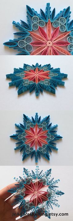 Snowflake Blue Pink Christmas Tree Decoration Winter Ornaments Gifts Toppers Fillers Office Corporate Paper Quilling Quilled Handmade Art