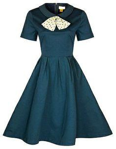 Blue Short Sleeve 1950s Vintage Inspired Dress