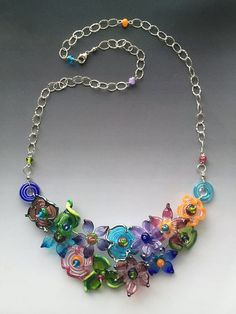 Secret Garden Necklace: handmade glass lampwork beads with sterling silver components - Multicolor