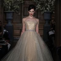 Wedding Dresses, Illusion Neckline Wedding Dresses, Ball Gown Wedding Dresses, Fashion, gold, Romona keveza