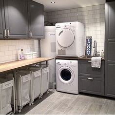 [V A S K E R O M] Vis meg ditt vaskerom med #kjøkken_inspovaskerom 🙌🏼 Credit: @jeanetteskreativeutbrudd Stacked Washer Dryer, Laundry Room, Washing Machine, Nest, Ikea, Home Appliances, Interior Design, Cool Stuff, House
