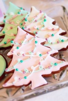 Pastel Christmas tree cookies with royal icing and pearls