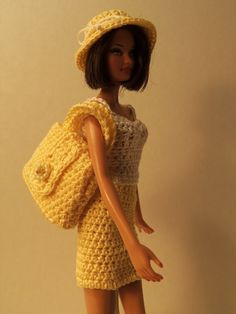 Cute Barbie yellow/white two piece with handbag & hat