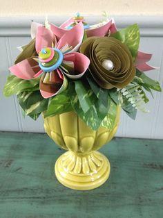 Paper flower arrangement in metal wagon origame flowers pink green paper flower arrangement with kusudama flowers and roses mightylinksfo