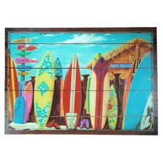 Surf Shack Wall Art Canvas, Multi Coloured