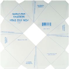 Quilter's Rule Chinese Take Out Box Template
