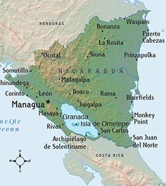 Map of Nicaragua. Nicaragua, officially the Republic of Nicaragua, is the largest country in the Central American isthmus, bordering Honduras to the north and Costa Rica to the south. Honduras, Ometepe, Costa Rica, Belize, Nicaragua Managua, Guatemala, Map Globe, Thinking Day, Caribbean Sea