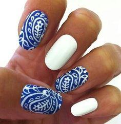 #nails #blue #white #bandana