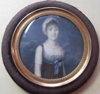 BEAUTIFUL FRENCH GEORGIAN PORTRAIT MINIATURE PRETTY YOUNG LADY C 1790