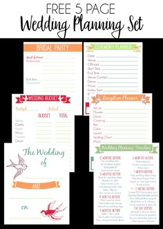 FREE 5 Page Wedding Planning Printable Set | Bread Booze Bacon