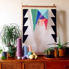 Weaving wall hanging on a tapestry loom by Maryanne Moodie Kids Interior, Tapestry Loom, Weaving Wall Hanging, Wall Hangings, Crafty Craft, Bunt, Fiber Art, Diy And Crafts, Projects To Try
