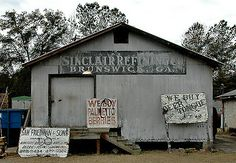 "Check out this Sinclair Oil Warehouse, in Sterling! ""Originally the Sinclair warehouse on Bay Street in downtown Brunswick, and was moved to this location in Sterling by Sam Friedman in Its original construction is circa Brunswick Georgia, Georgia On My Mind, Historical Photos, Geology, Shed, Outdoor Structures, Cabin, Island, The Originals"