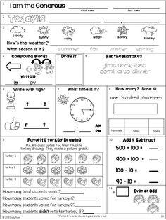 Morning Work: Second Grade November Packet 2nd Grade Classroom, 1st Grade Math, Second Grade, Grade 2, Science Lessons, Science Activities, Fun Math, Math Games, Math 2