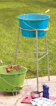 Turquoise Galvanized Steel Bucket Grill at Cost Plus World Market