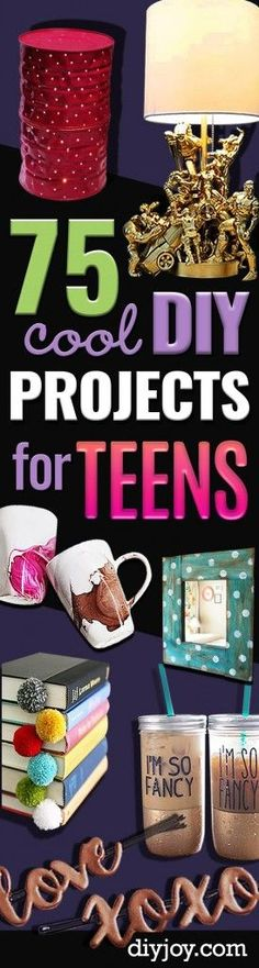 DIY Projects for Teenagers - Cool Teen Crafts Ideas for Bedroom Decor, Gifts, Clothes and Fun Room Organization. Summer and Awesome School Stuff http://diyjoy.com/cool-diy-projects-for-teenagers