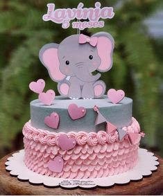Torta Baby Shower, Tortas Baby Shower Niña, Elephant Baby Shower Cake, Elephant Cakes, Baby Boy Shower, Elephant Party, 1st Birthday Party For Girls, Baby Birthday Cakes, Girl Baby Shower Decorations