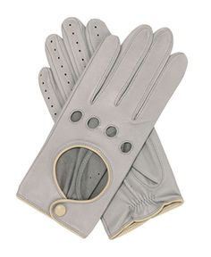 Womens Contrast Trim Grey Leather Driving Glove from Southcombe Gloves Leather Driving Gloves, Leather Gloves, Liberty Fashion, Mode Ab 50, Fashion Competition, Grey Leather, Contrast, Abs, Sporty