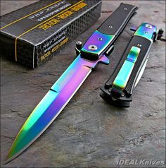 tac force rainbow knives | TAC-FORCE FAST Assisted Opening RAINBOW SPECTRUM Stiletto Speedster ...