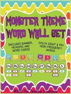 This adorable word wall set will go great with any monster theme classroom décor! Included in this complete set: title banner, ABC headers, and word wall cards in 6 bright colors. 220 Dolch sight words(pre-primer through third grade) and Fry's first 300 high frequency words are used in this set. The word cards are separated by type for your convenience. Also included are blank/editable cards so you can add your own words! The word cards measure 3 x 6 inches. $