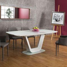 Armani bővíthető étkezőasztal fehér 76 x 90 x cm Decor Interior Design, Interior Design Living Room, Room Interior, Armani White, Modern Dining Table, House Design, Contemporary, Glass, Furniture