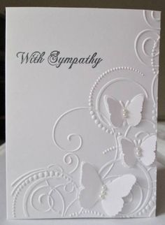 I love the white-on-white look here, but I could see it more of a wedding card instead of sympathy. Could use other monochromatic colors, too!