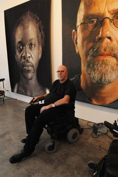 Chuck Close in his studio  Photo by Luigi Cazzaniga