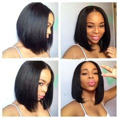 LUFFY Short Human Hair Bob Wigs Virgin Indian Human Hair Bob Cut Wigs 130 Density Middle Part Bob Lace Front Wigs Natural Color For Black Women