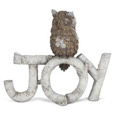 """GLITTER OWL ON BIRCH """"JOY""""  These cute woodland decorations are perfect for adding that touch of the forest to décor! They feature holiday-themed words spelled out in birch with a cute owl perched on top.   #960647 $29.99  www.lambertpaint.com"""