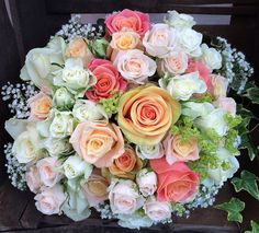 Pink peach white gyp bouquet by Simply Flowers By Catherine