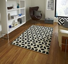 Modern Black Cream Geometric Wool Rug 120x170cm (4ft 0  x 5ft 7 ) LOW STOCK