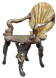 Shell Chairs - not my normal style but I think these look magical looking. I can imagine a mermaid sitting on one combing her hair :) Funky Furniture, Antique Furniture, Furniture Design, Porch Furniture, Marine Style, Art Nouveau, Wood Arm Chair, Arm Chairs, Accent Chairs