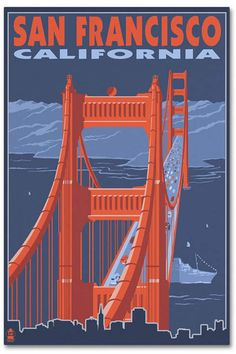 San Francisco, California - Golden Gate Bridge Art Print by Lantern Press at… Ponte Golden Gate, Golden Gate Bridge, Vintage Travel Posters, Vintage Postcards, Voyage Usa, Wisconsin, Michigan, San Francisco California, San Francisco Bridge