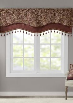 Jla Home Madison Park Aubrey 50 x 18 Jacquard Rod Pocket Window Valance With Beads Fashion Room, Window Valance, Mattress Furniture, Window Rods, Windows, Jla Home, Window Design, Madison Homes, Faux Silk Curtains