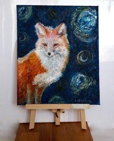 Red fox oil painting artwork wall art canvas Handmade home decor gift ideas room #ArtNouveau