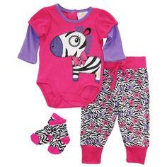 Duck Goose Baby Girls Zebra Bodysuit Terry Pant and Socks 3Pc Gift Set - Walmart.com