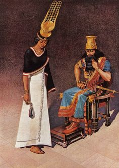 """Assyria Crushes the Nubian Dynasty """"Queen Amun-dyek-het bows before her captor, King Esarhaddon of Assyria. In her right hand she holds the menat, symbolic of her office as the high priestess of the goddess Hathor. Ancient Persia, Ancient Egypt, Ancient History, Ancient Mesopotamia, Ancient Civilizations, The Bible Movie, Epic Of Gilgamesh, Ancient Near East, World History"""