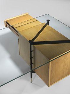 RENE JEAN CAILLETTE Rene Jean Caillette Desk, 1958 Frêne, black enameled metal, nickel, glass 78.74 x 35.43 x 29.53inches 200 x 90 x 75cm Edition Charron